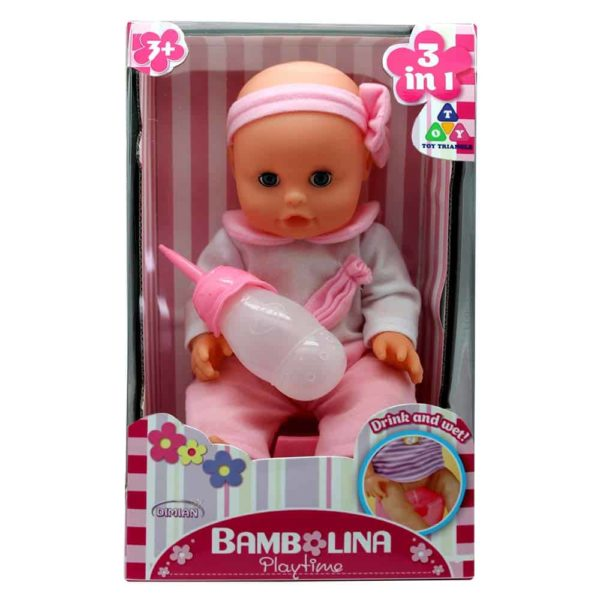 Bambolina - Play Time Doll With a Bottle 30cm - Pink