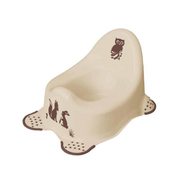 مقعد المرحاض بتصميم حيوانات الغابة باللون الكابتشينو مانع للانزلاق من كيبر