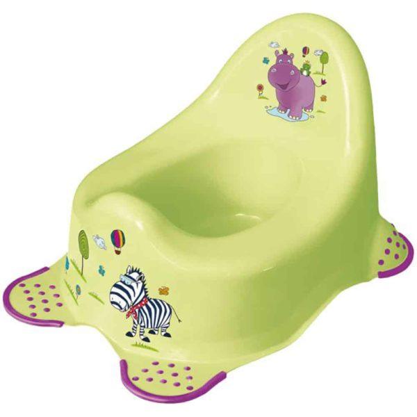 مقعد المرحاض بتصميم هيبو بالاخضر الليمونى مانع للانزلاق من كيبر