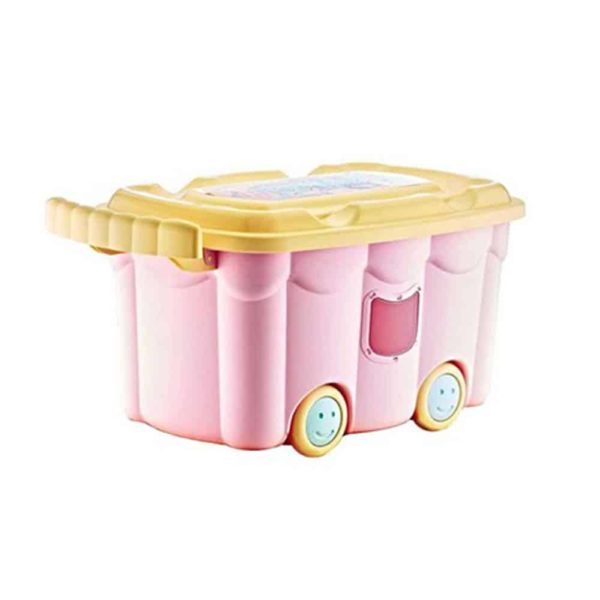 صندوق ألعاب مربع زهري مع حجلات من بيبى جيم