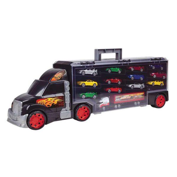 شاحنة نقل مع 6 سيارات صغيرة بحقيبة مع 14 اكسسوار من موتور ماكس