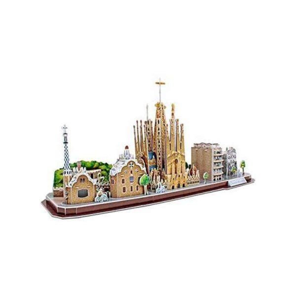 بازل ثلاثي الابعاد على شكل سيتي لاين برشلونة (186 قطعة) من كيوبك فن
