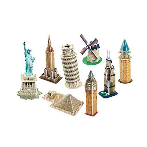 بازل ثلاثي الابعاد لسلسلة 48 نموذج من المبانى المعمارية المصغرة 60 قطعة من كيوبك فن