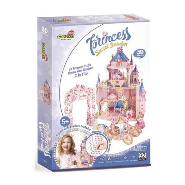 princess secret garden (92 pcs + 3d princess castle crystal gem stickers 2 in 1 ) by cubic fun