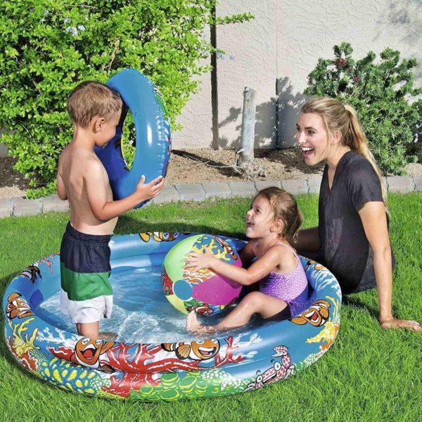 بيست واي – حوض سباحة مصحوب بكرة مائية وعوامة 122سم * 20سم