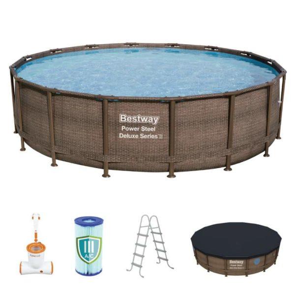 بيست واي – حمام سباحة باور ستيل سويم فيستا دائري بسعة 19،480 لتر 488سم*122سم