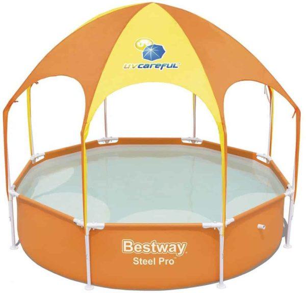 بيست واي – حمام سباحة دائري بقوائم معدنية مع شمسية و رشاش 244*51سم