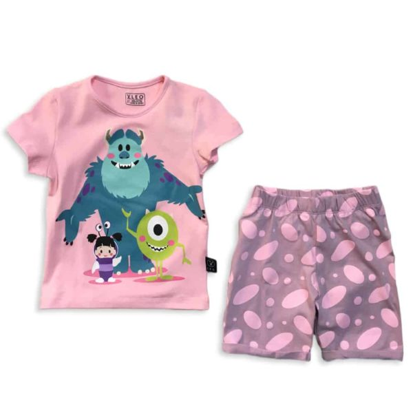 leo monsters girls summer pajama pink