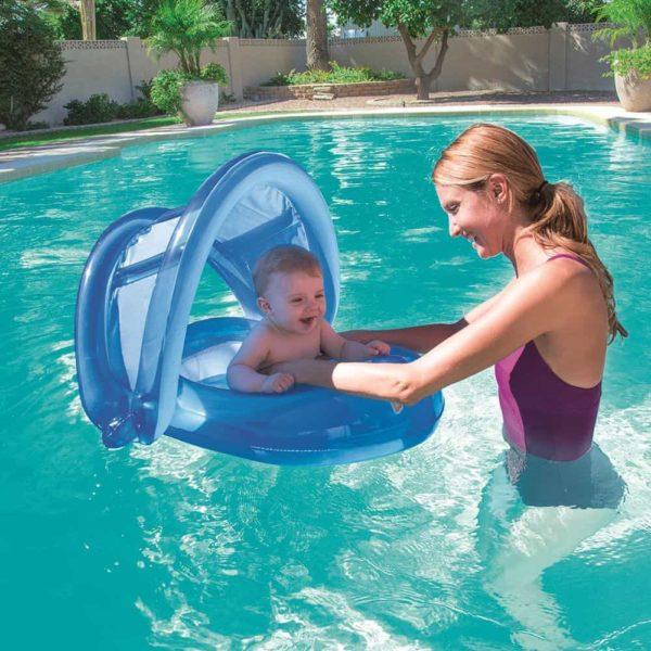 بيست واي -عوامة رعاية للطفل مزود بغطاء للحماية من الشمس 80سم*85سم