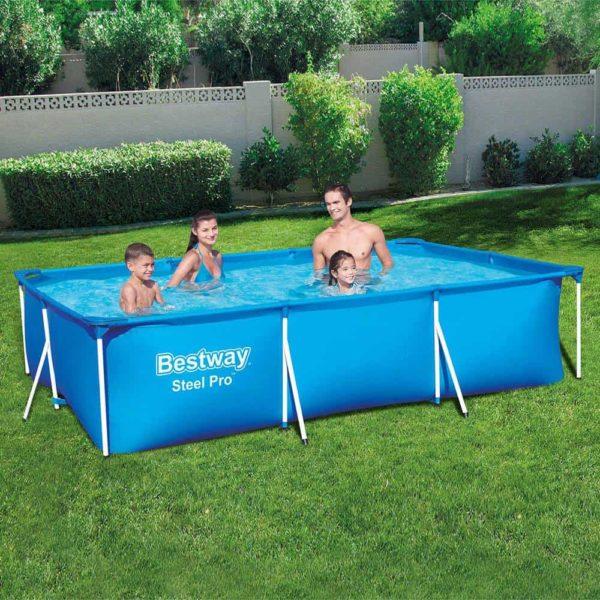 بيست واي – طقم حمام سباحة برو ستيل مستطيلي الشكل 300سم*201سم*66سم