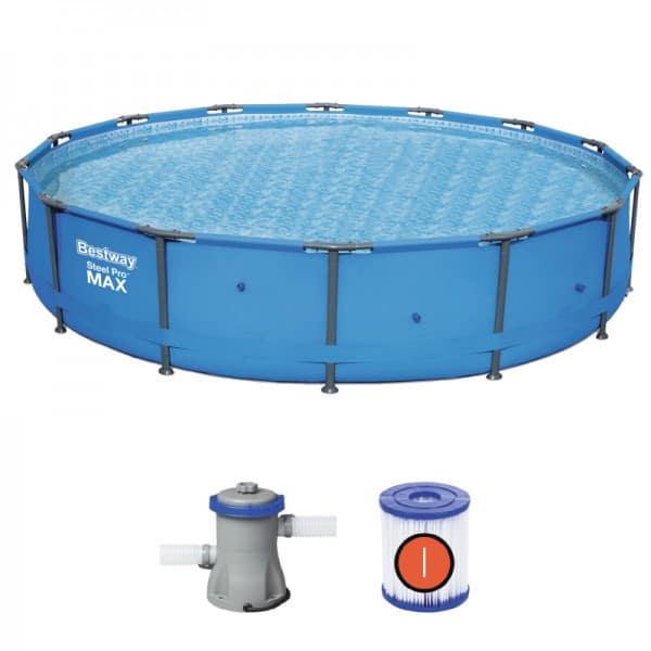 بيست واي – طقم حمام سباحة برو ستيل ماكس دائري 427سم*84سم