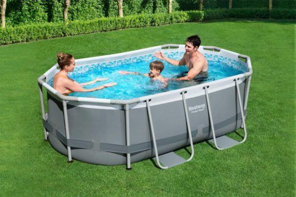 بيست واي – طقم حمام سباحة باور ستيل بيضاوي الشكل 300سم*200سم*84سم
