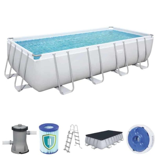 بيست واي – طقم حمام سباحة باور ستيل مستطيلي الشكل 488سم*244سم*122سم
