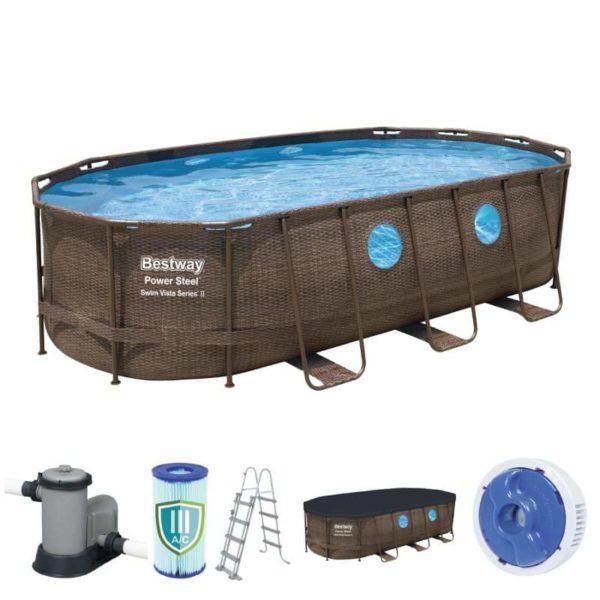 بيست واي – طقم حمام سباحة باور ستيل سويم فيستا بيضاوي 549سم*274سم*122سم