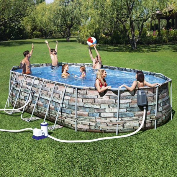 بيست واي – طقم حمام سباحة باور ستيل كمفورت جيت بيضاوي 610سم*366سم*122سم