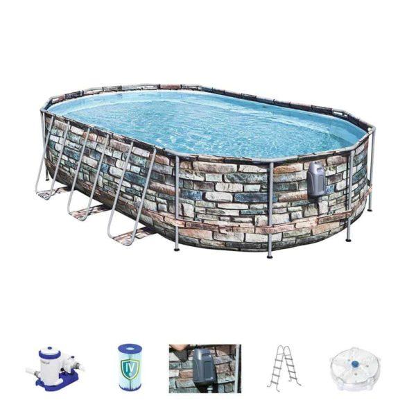 bestway's power steel comfort jet series oval pool set (610cm x366cm x122cm)