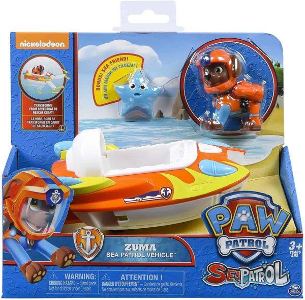 paw patrol – sea patrol zuma's transforming sea patrol vehicle – includes zuma figurine & bonus sea friend