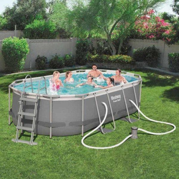 بيست واي – طقم حمام سباحة باور ستيل بيضاوي الشكل 427سم*250سم*100سم