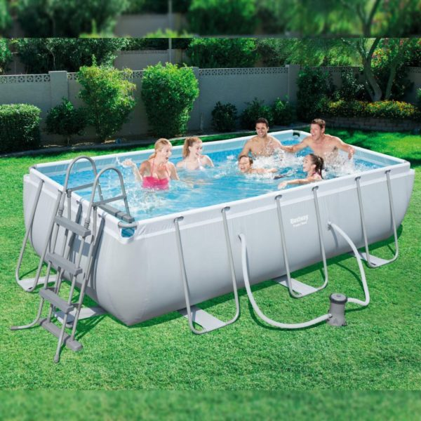 بيست واي – طقم حمام سباحة باور ستيل مستطيلي الشكل 404سم*201سم*100سم