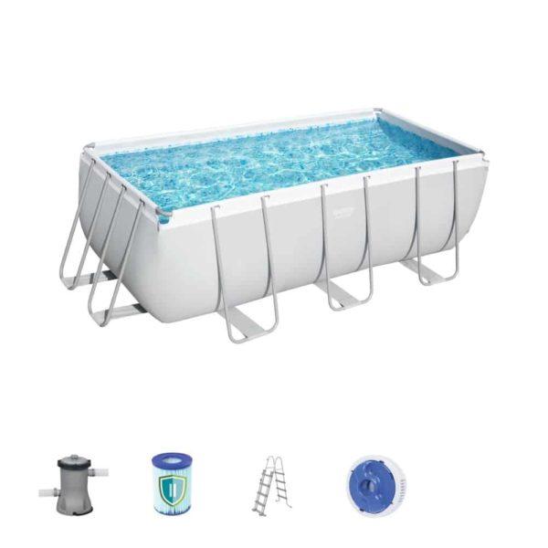 bestway's power steel rectangular pool set (412cm x 201cm x 122cm)