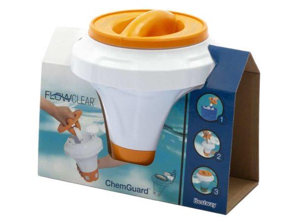 بيست واي – حاوية كلور وبرومين لحمامات السباحة من فلو كلير مع قفازات chemguard