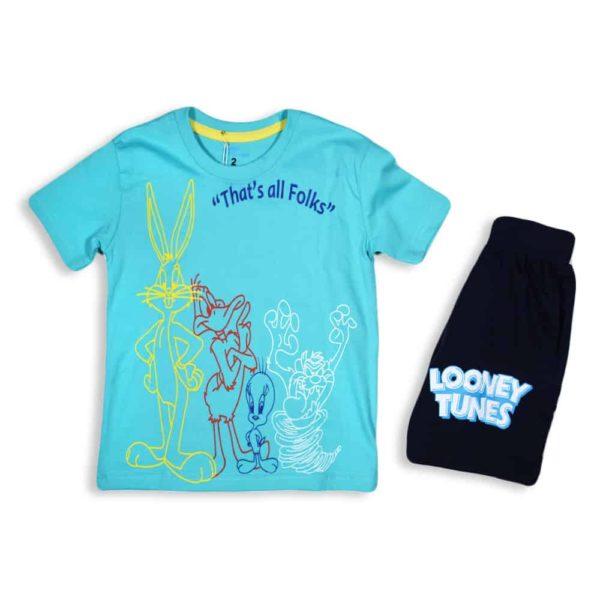 kangaroo loony tunes pajama turquoise