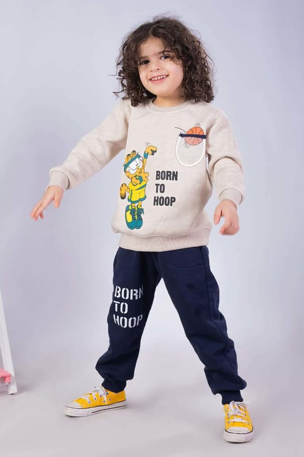 born to hoop pajama beige banana