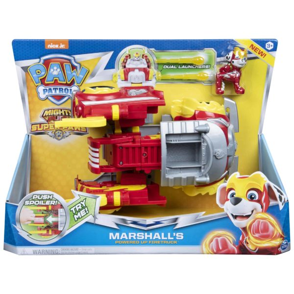 PAW Patrol, Mighty Pups Super Paws Marshall's Powered up Fire Truck Transforming Vehicle1