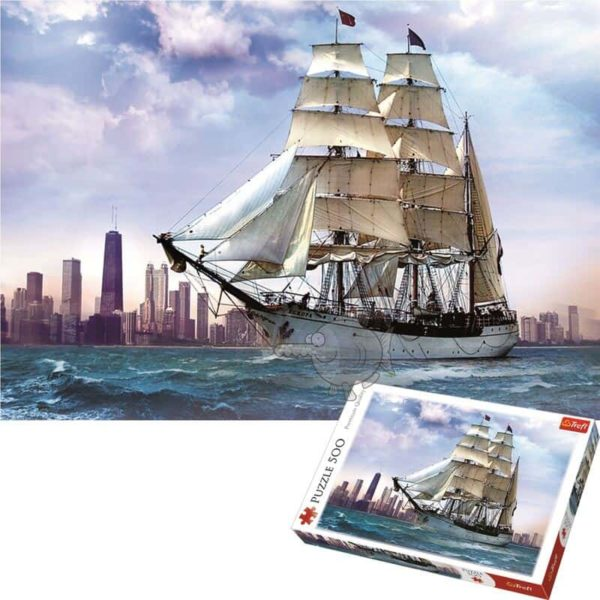 """puzzles – """"500"""" – sailing against chicago / be&w"""