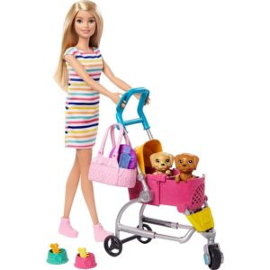 Barbie Stroll 'n Play Pups Playset with Blonde Barbie Doll