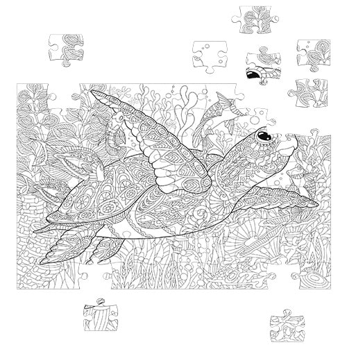 sea turtle coloring puzzle 300 pieces – fluffy bear