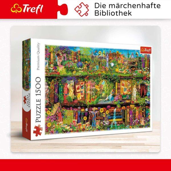 """fairy bookcase"" 1500 pieces puzzle trefl"