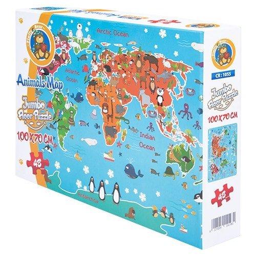 بازل خريطة الحيوانات 48 قطعة -- فلافي بير