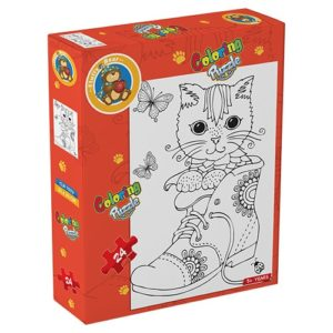 Cat – Coloring Puzzle 24 pieces - Fluffy Bear