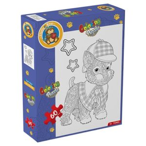 Dog Coloring Puzzle 60 pieces - Fluffy Bear