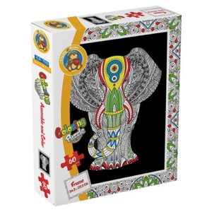 Elephant – Coloring Puzzle 60 pieces - Fluffy Bear