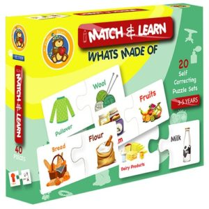 Match & Learn – What's Made Of 20 Self Correcting Puzzle Sets - Fluffy Bear