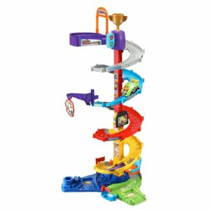 Race into three feet of fun with the two-in-one Go! Go! Smart Wheels Ultimate Corkscrew Tower !