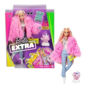 Barbie Extra Doll #3 in Pink Coat with Pet Unicorn-Pig