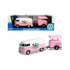 Motormax Volkswagen VW T2 van & Ice Cream Trailer 124 Pink UK Seller