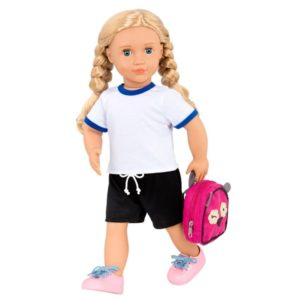 18 Posable School Doll with Storybook & Accessories - Hally Our Generation