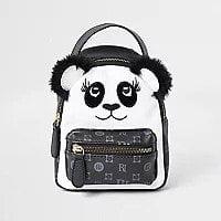 Girls Black Monogram Panda Mini Backpack
