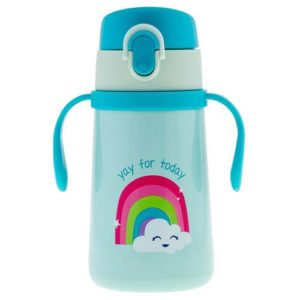 Stephen Joseph Double Wall Stainless Steel Bottle With Handle Rainbow