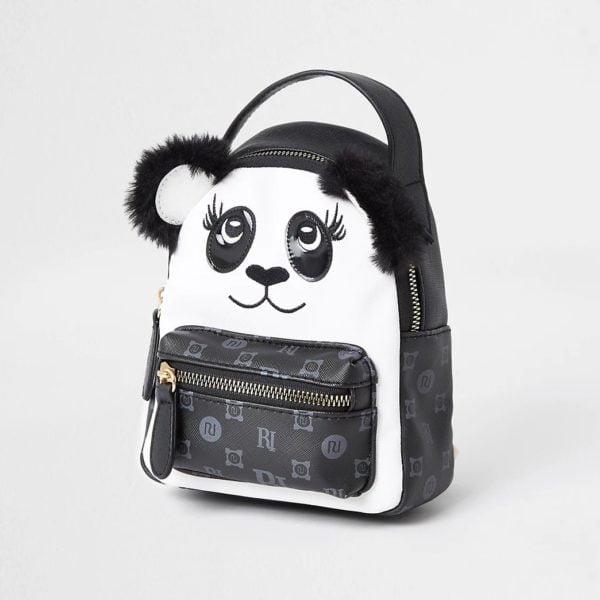 Girls Black Monogram Panda Mini Backpack River Island