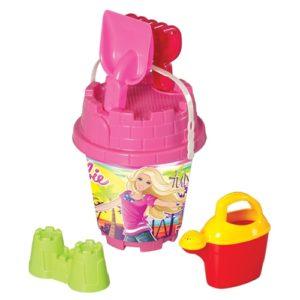 Barbie MEDIUM Round castle Bucket Set Multi color with Water spray (4 PCS) Dede