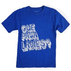 Ladies T-shirt blue children place