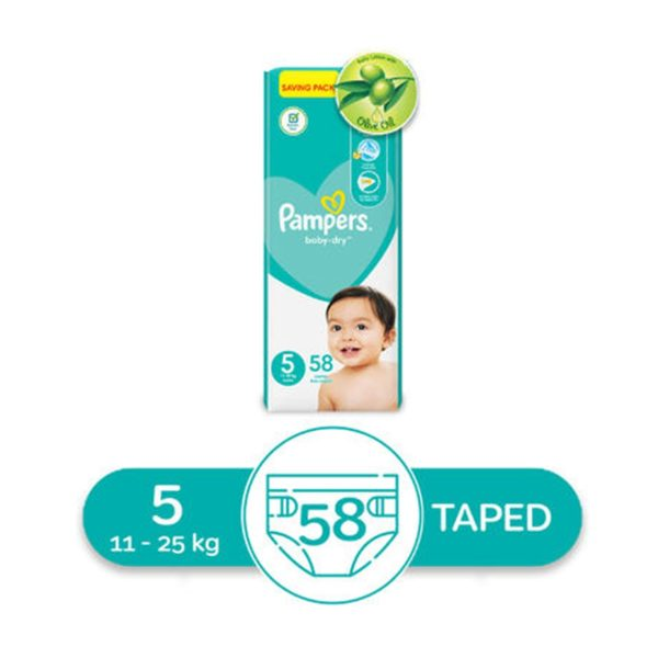 Pampers Baby Dry Night Diapers, Size 5, 12-25 kg, 58 Diapers