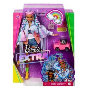 Barbie Extra Doll #5 Braided Rainbow Hair with Dog