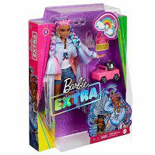 Barbie Extra Doll Braided Rainbow Hair with Dog